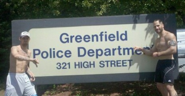 Pete and Ademo outside the Greendfield PD