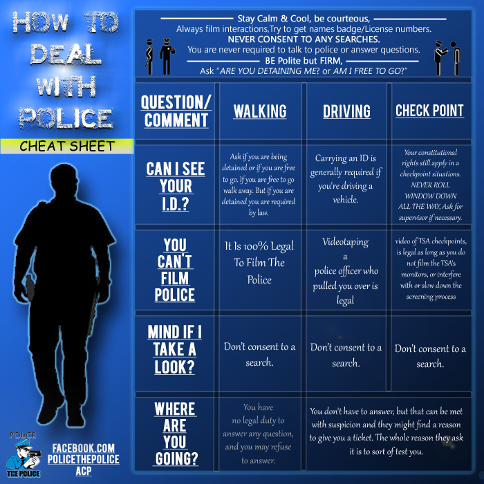How to deal with police cheat sheet cop block
