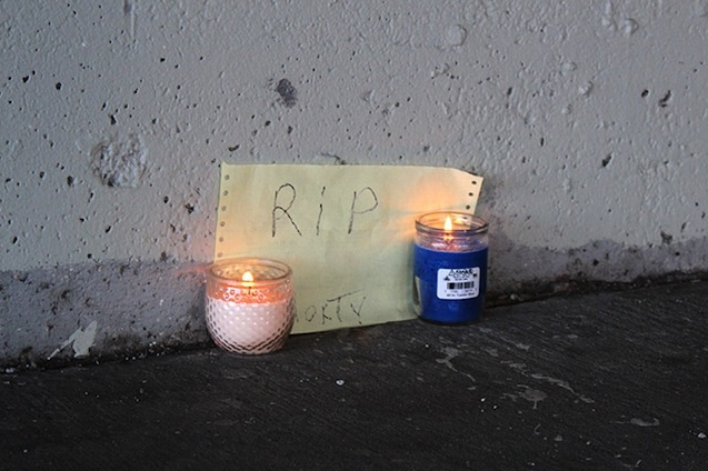 A memorial for a homeless man killed by LAPD employees. Photo by Paul T. Bradley