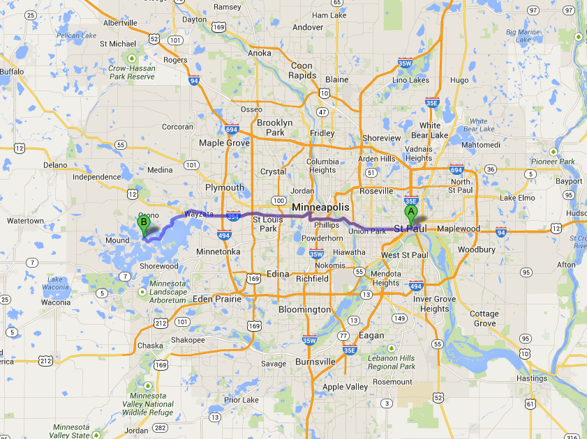 Route from St. Paul to Wayzata