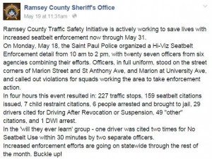 Ramsey County Sheriff's Department bragging about arrest.