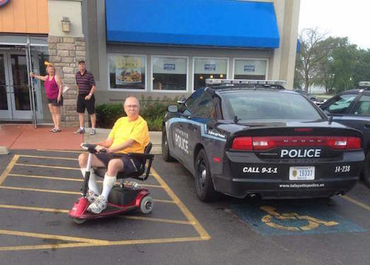 This photo of a Lafayette, Indiana police cruiser parked in a handicapped spot has recently gone viral, prompting public discussion about the day to day abuses of power endemic to policing in the US.