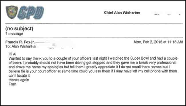 E-mail sent by Belchertown Chief Francis Fox to Granby Police Chief Alan Wishart. Courtesy: Granby Police Department