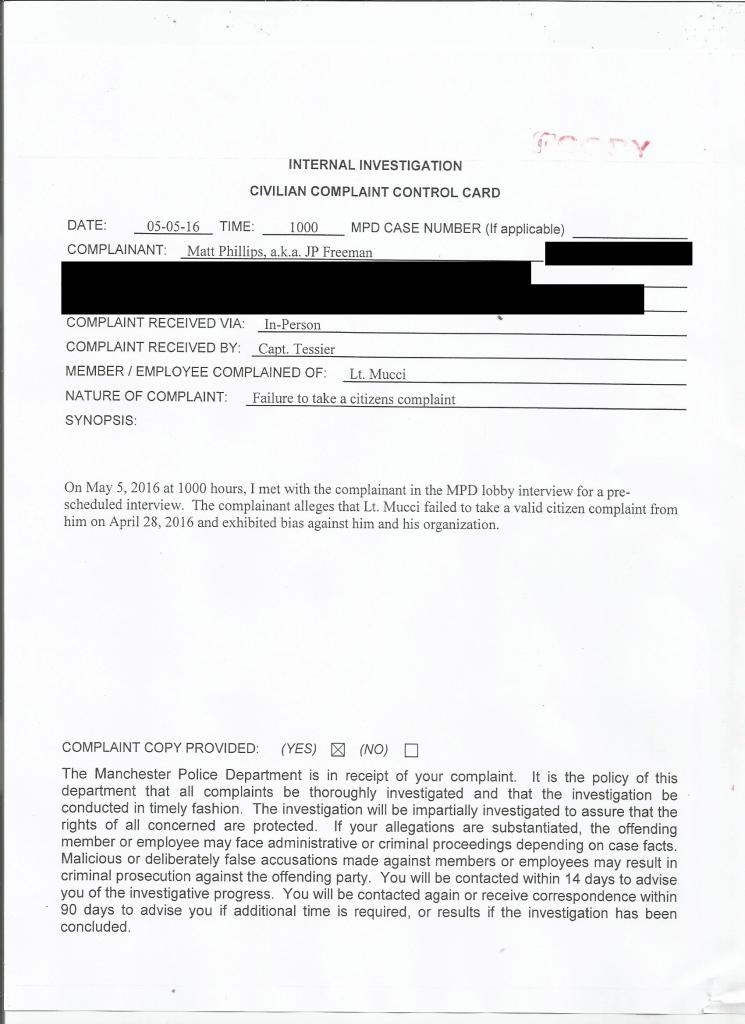 Manchester PD Civilian Complaint