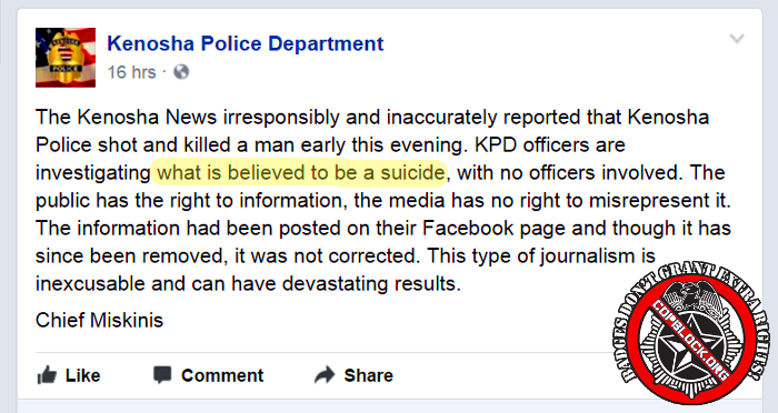 premature report kenosha wisconsin suicide officer involved shooting censorship