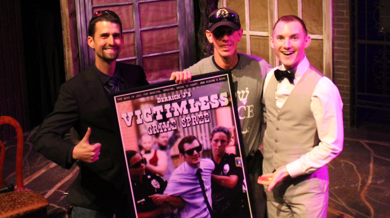 Ian Freeman, Darryl W Perry (our lucky poster raffle winner!), and Derrick J Freeman at the 5th Anniversary Screening